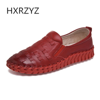 HXRZYZ Women Flat Shoes Handmade Soft Genuine Leather Shoes Fashion Ladies Thick Sole Non Slip Casual