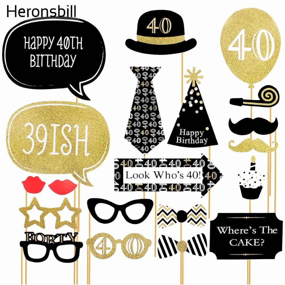 medium resolution of heronsbill 40th birthday photo booth props happy 40 years party decoration men women supplies decorations