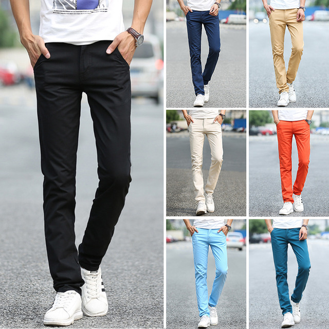 Business Casual Pants 11 Colors New Casual Pencil Pants Men Slim Pant Straight Trousers Solid Leisure Zipper Spring Summer k919 5