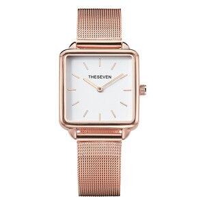 Image 1 - 2019 패션 여성 시계 쿼츠 로즈 골드 스퀘어 시계 여성 스테인레스 스틸 밴드 손목 시계 럭셔리 유명 브랜드 숙녀 시계