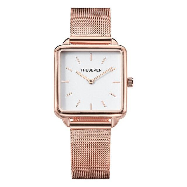 2019 패션 여성 시계 쿼츠 로즈 골드 스퀘어 시계 여성 스테인레스 스틸 밴드 손목 시계 럭셔리 유명 브랜드 숙녀 시계