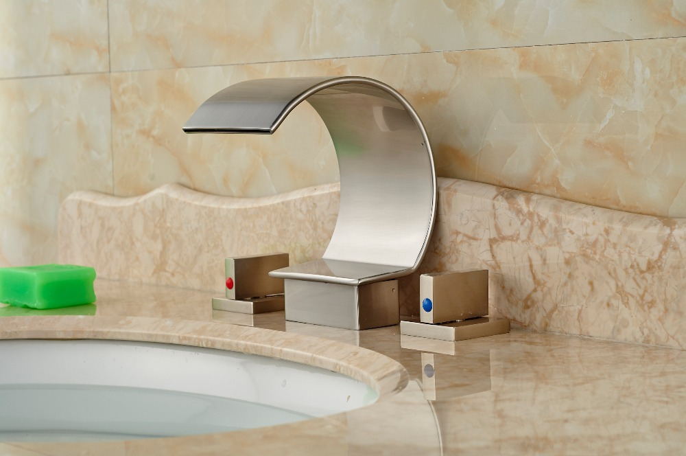 Brushed Nickel Faucet Waterfall Bathroom Spout Sink One: Waterfall Spout Bathroom Basin Sink Faucet Two Handles