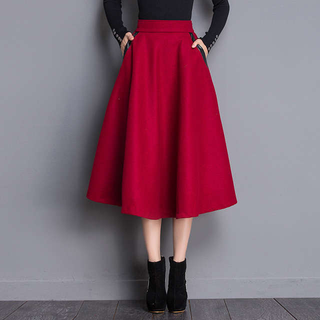 ba98eaad76a5 Hiver De Laine Vintage Jupes Femmes Stretch Taille Haute Plaine Noir Rouge  Évasée Jupe Plissée Élégante
