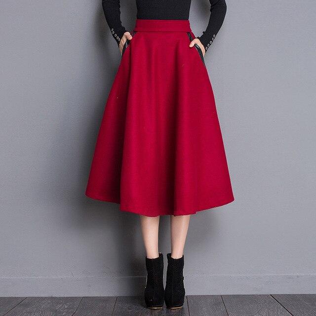 Jupes Vintage Femmes Hiver Taille Noir Rouge Uni Stretch Haute Laine uiXZPk