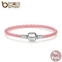 BAMOER Original 925 Sterling Silver Wholesale 4 Color Genuine Leather Snake Chain Bracelets For Women Fine