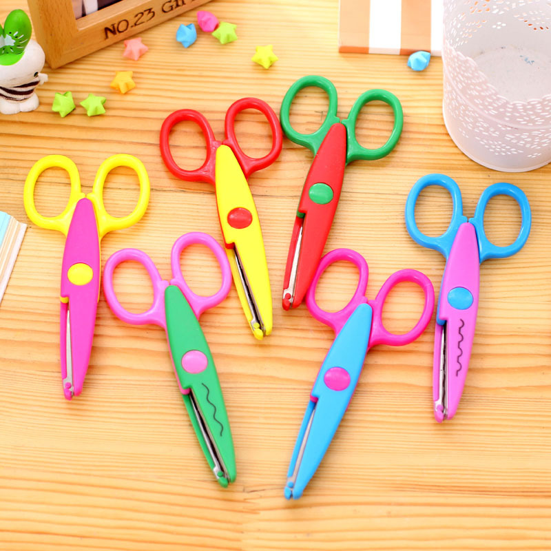 6 Patterns Laciness Scissors DIY Scrapbooking Photo Colors Scissors Paper Lace Diary Decoration Plastic Safe Scissors For