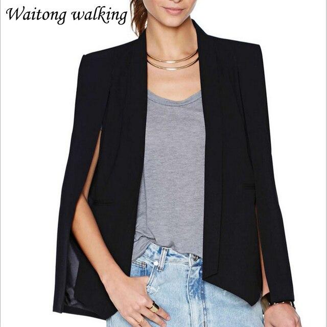 b0466255e82f 2017 Printemps Femme Europe Style Manteau Cape Blazer Plus La Taille  Costume Décontracté Veste Vêtements De