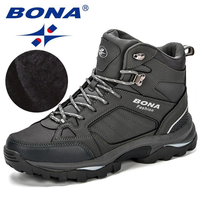 Homens Botas de Couro Anti-Derrapagem BONA Sapatos Homens Populares Confortável Primavera Outono Homens Sapatos Botas de Neve De Pelúcia Curtas Durável sola