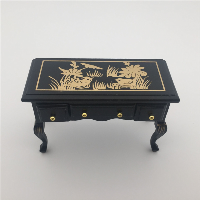 Vintage Side Table with Drawers Painting Black Wood Dollhouse Miniatures 1:12 Scale Room Furniture Drop Shipping