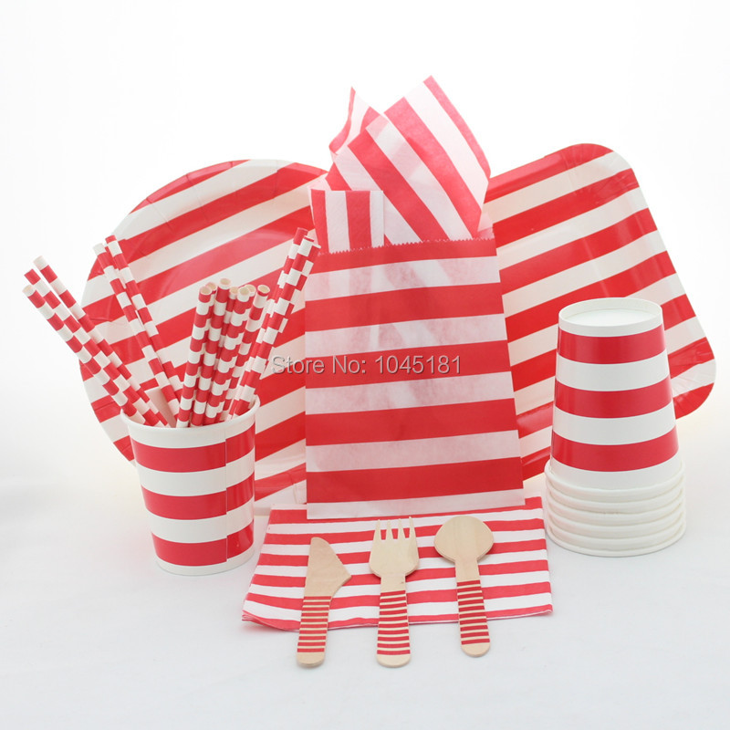Awesome Christmas Party Paper Plates Part - 13: 5 Colors Party Tableware Set Striped Paper Plates Cups Straws And Napkins  Striped Paper Bags Wooden