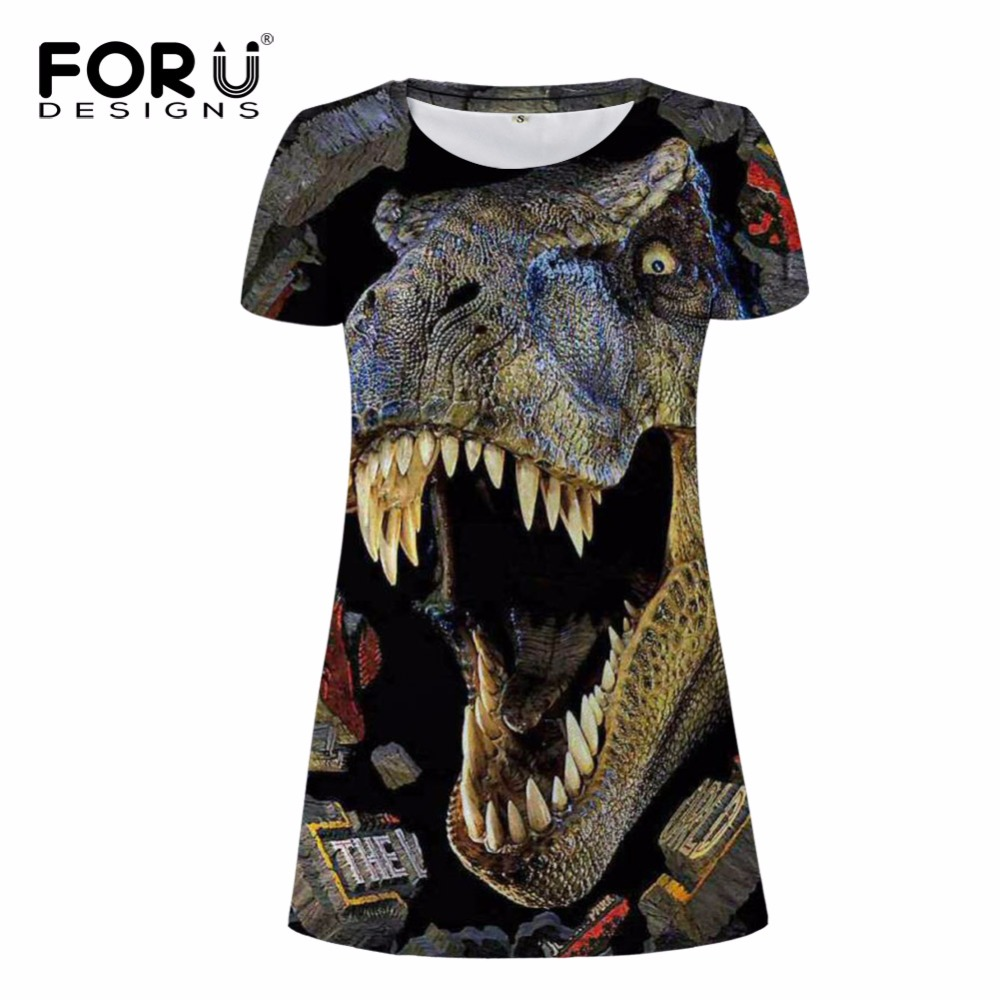 FORUDESIGNS Novelty Women Sexy Dress Summer Short Sleeved Woman Casual Desses 3D Dinosaur Animal Lady Vestidos Party Beach Dress