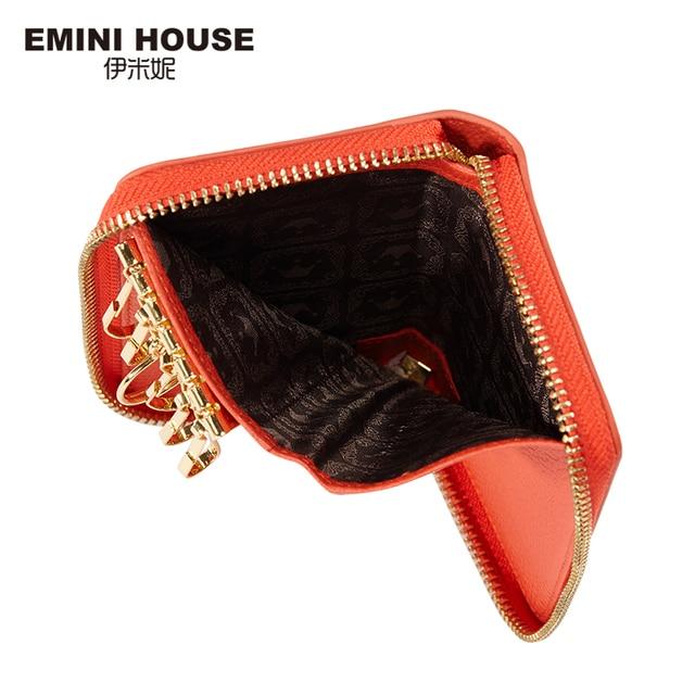EMINI HOUSE Genuine Leather Women Key Wallet 4 Colors High Quality Short Wallet Mini Purse
