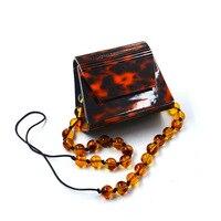 Euro american Wind 2019 Trapezoidal Tortoise Acrylic Small Square Bag Dinner Bag Single Shoulder Slant Women's Bag