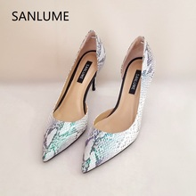 SANLUME Mixed color Women Elegant Genuine leather Side empty High heels office shoes Pumps Lady Pointed Toe inside sheepskin hot sale high quality pointed toe thin high heels women shoes genuine leather upper and inside lady sexy pumps sheepskin shoes