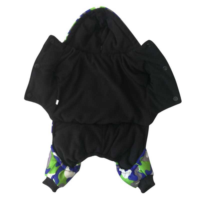 Питомник собак четыре ноги утолщенный детский комбенизон, теплый с капюшоном зимнее пальто для щенка камуфляжное пальто
