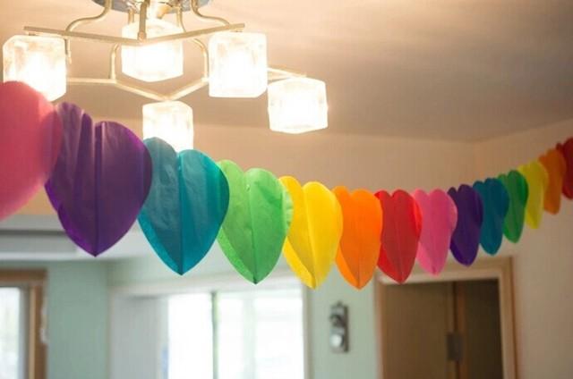 3 М Радуга Heart-shaperd партии гирлянда любовь папиросной бумаги гирлянды Цветочная Гирлянда Свадебная вечеринка дождя события украшения