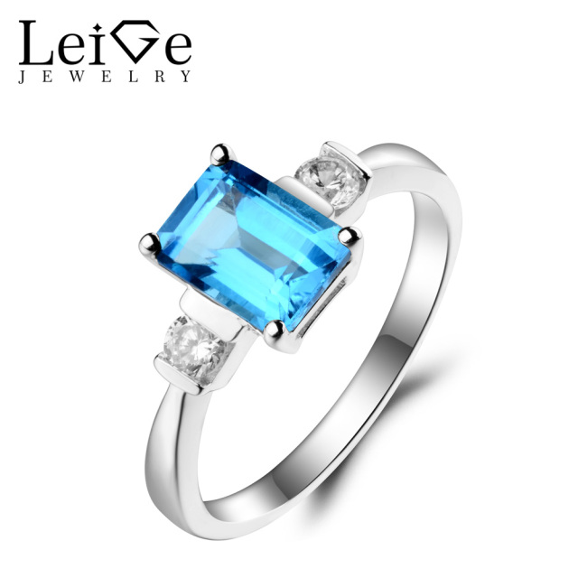 Leige Jewelry Swiss Blue Topaz Ring Topaz Wedding Ring November