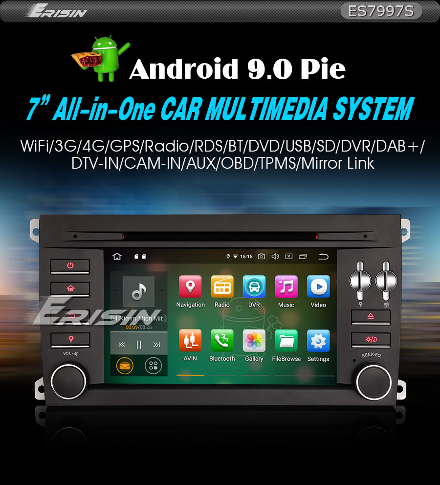 """Clearance 7"""" 4GB RAM 32GB ROM Android 9.0 Pie OS Car DVD Multimedia GPS Radio for Porsche Cayenne 2003-2010 with Split Screen Support 1"""