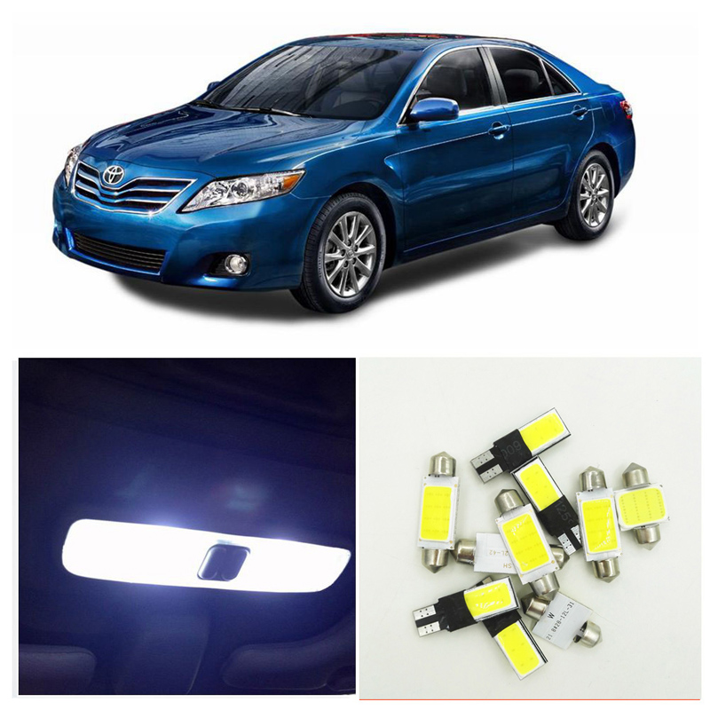 10PCS Xenon White Ice Blue LED Lights Interior Package Kit For 2002-2006 Toyota Camry Map License Plate Light Toyota-EF-01 10pcs xenon white car interior led bulbs package kit for 2006 2012 toyota rav4 map dome license plate light toyota b 10