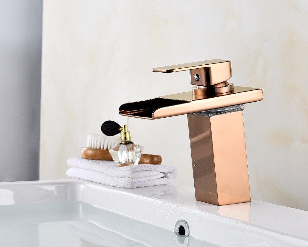 Robinet cascade salle de bain robinet à LED. Robinet de lavabo en laiton cascade doré. Mitigeur de salle de bain mitigeur lavabo monté sur le pont - 5