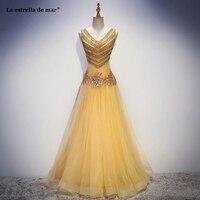 Vestido madrinha высокое качество на заказ Тюль Кристалл sexy V образным вырезом трапециевидной формы Золотой Красный Персик платья подружк