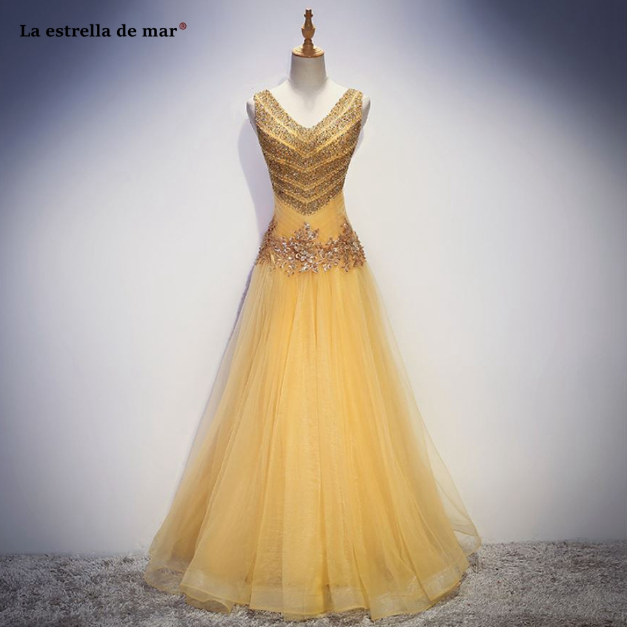 Vestido madrinha high quality custom tulle crystal sexy V neck A Line golden red peach   bridesmaid     dresses   long plus size