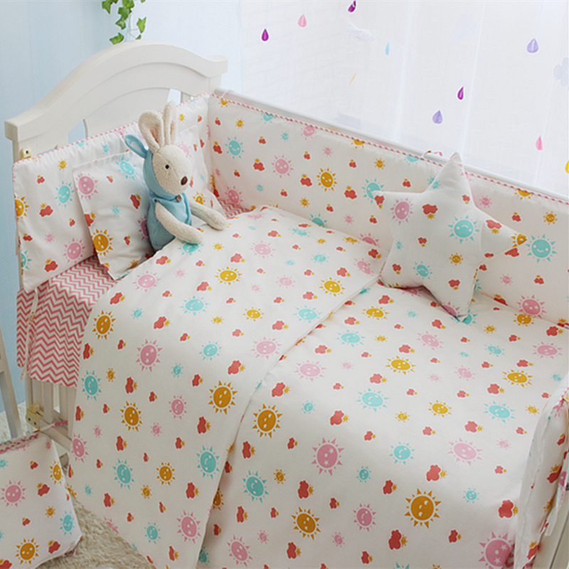 Sunshine Baby Girl Crib Bedding Set Princess Style Girl Kids Bedding Set Newborn Cot Set 100% Cotton Baby Bed Linen Bed Clothes