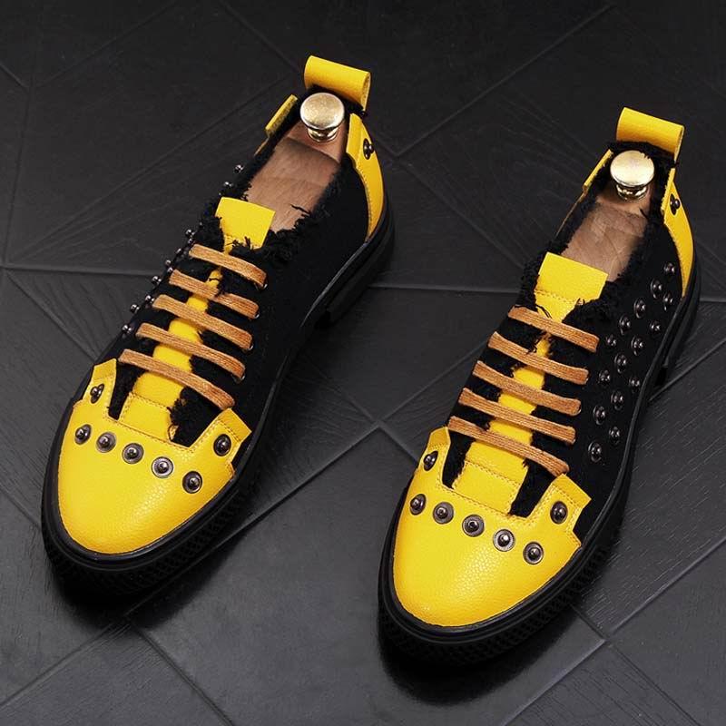 ERRFC Trend moda mężczyźni na co dzień wygodne buty denim buty nit mokasyny koreański osobowość wypoczynek buty oddychające męskie buty w Męskie nieformalne buty od Buty na  Grupa 1