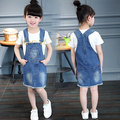 Free Shipping Denim Sundress For Girls Cowboy suspenders Dress Floral Print   Dress Kids Clothes Brand Fashion Outwear Retail