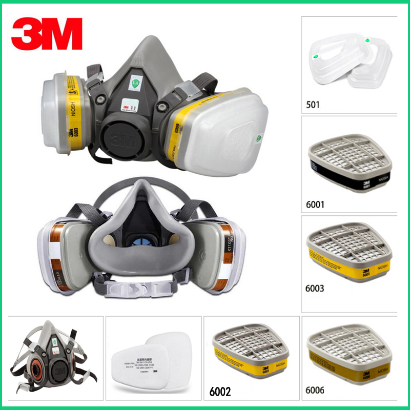 9in1 3M 6200 N95 PM2.5 Half Face Gas Mask Respirator Painting Spraying Acid Gas Organic Vapor With 6001/6002/6003/6005 Filter