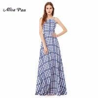 Casual Holiday Beach Girl Dress Alisa Pan Sapphire Blue New Arrival AS08972SB Women Sexy Sleeveless Long Casual Dress 2017