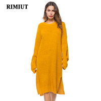 Rimiut 2018 Fashion Female Long Sleeve Knitted Sweater Dress Women Loose Plus Size O neck Pullovers Sweater Tops Big Size Cloth
