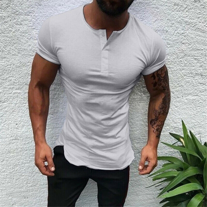 Helisopus Men Short Sleeve T Shirt Slim Fit Buttons Tops Summer T Shirts Muscle Tees