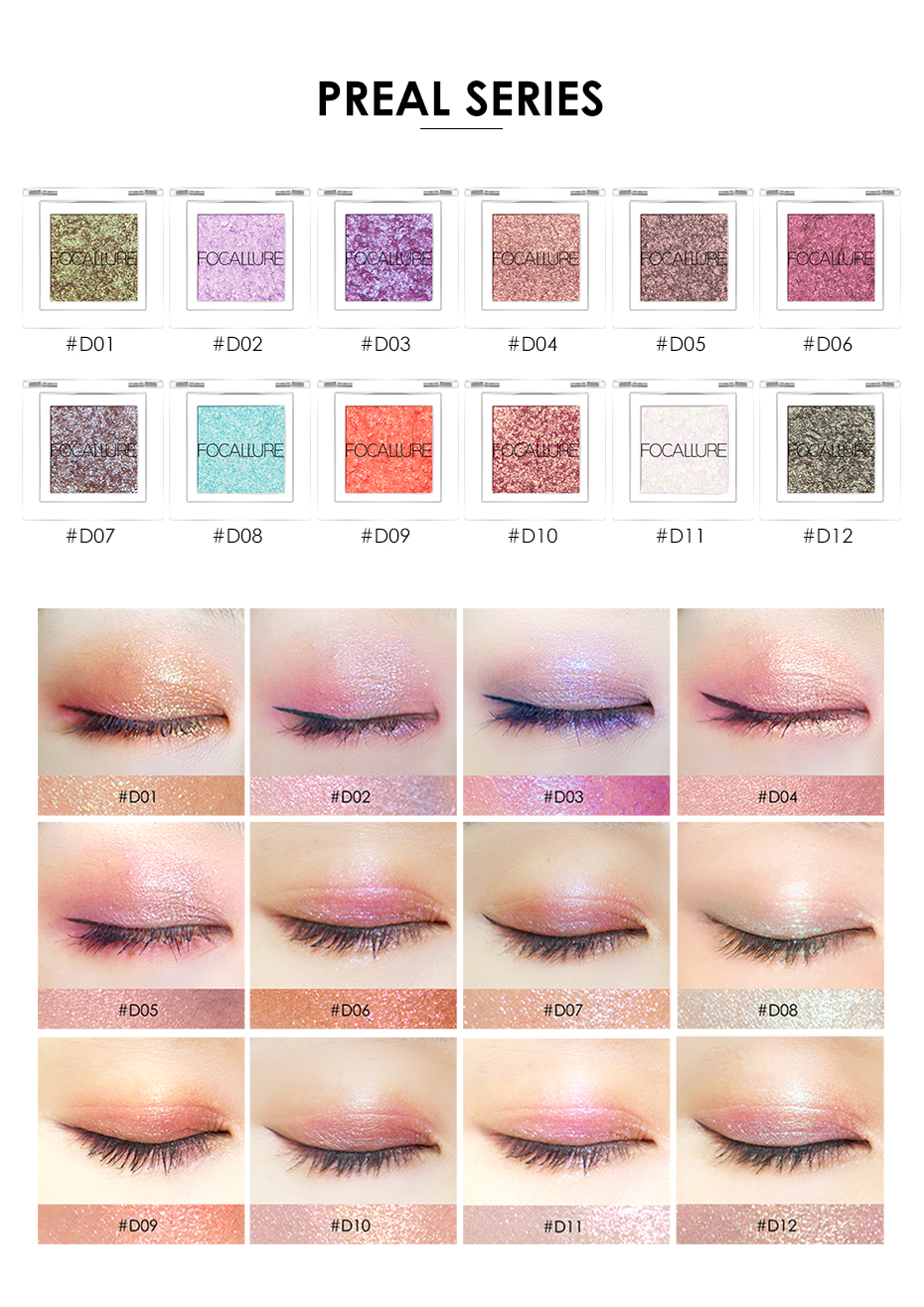 Focallure Eyeshadow Glitter Powder Pigment Metallic Shiny Holographic Eye Toppers Single Eye Shadow Makeup
