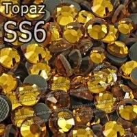 SS6 1.9-2.0mm,1440pcs/Bag Topaz DMC HotFix FlatBack loose Rhinestones,DIY HotFix iron-on garment yellow-crystal gem stone