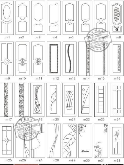 192 pièces porte décor conception dessin diagramme vectoriel DXF EPS CDR format pour CNC découpe gravure