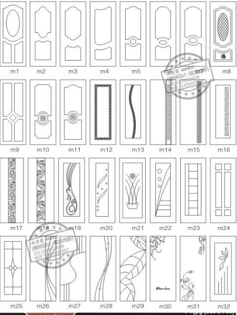 192 Pieces Door Decor Design Drawing Vector Diagram EPS CDR Format For Cnc Cutting Engraving