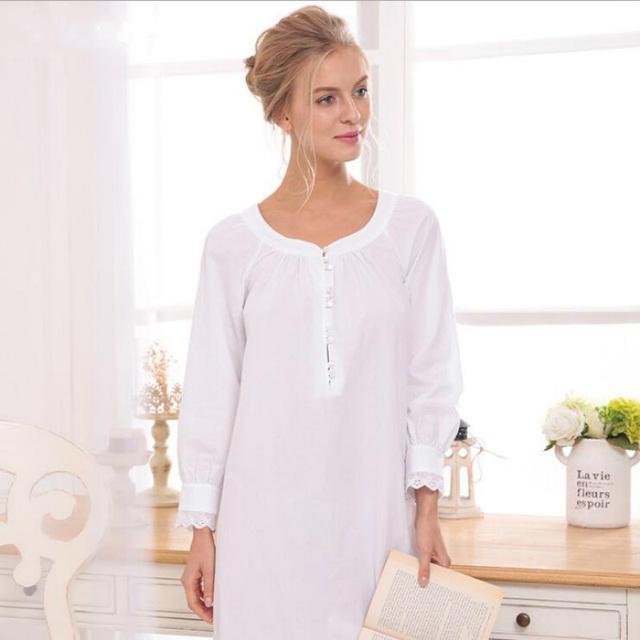 Camisola Palácio do vintage Outono de Manga Comprida Camisola De Algodão Branco Simples Vestidos de Roupas Para Mulheres Noite Vestido Camisola 2017