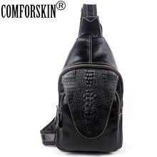 COMFORSKIN Crocodile Head Men Shoulder Messenger Bag New Arrivals Cow Leather Fashion Alligator Famous Brand Designer