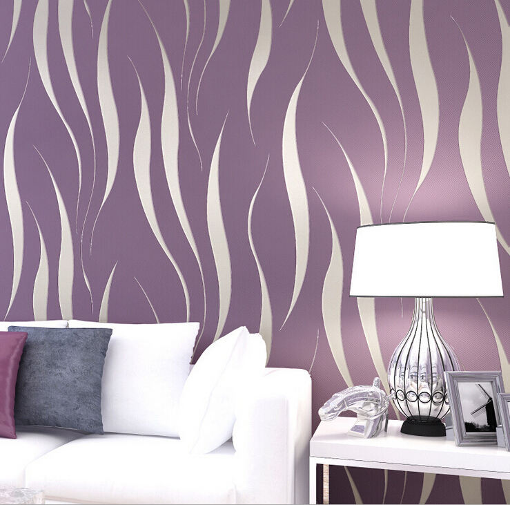 3d Wave Flocking Wallpaper Modern 3d Wave Striped Wall Paper Flocking Embossed Non
