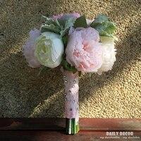 Nowy nabytek ładne sztuczne różowy piwonia kwiaty ślubne bukiet ślubny panny młodej gospodarstwa kwiat Druhna bukiet ramo de novia boda