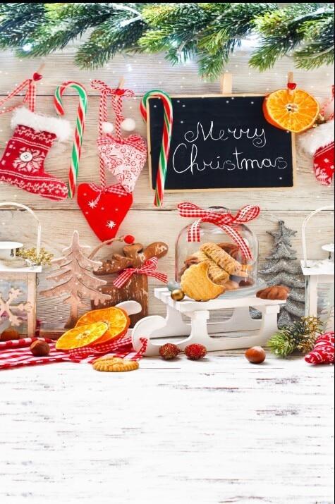 Us 27 04 18 Off 8x12ft Kitchen Panel Boots Stick Love Bag Orange Sledge Merry Christmas Customize Photo Backdrop Studio Background Vinyl 10x10 In