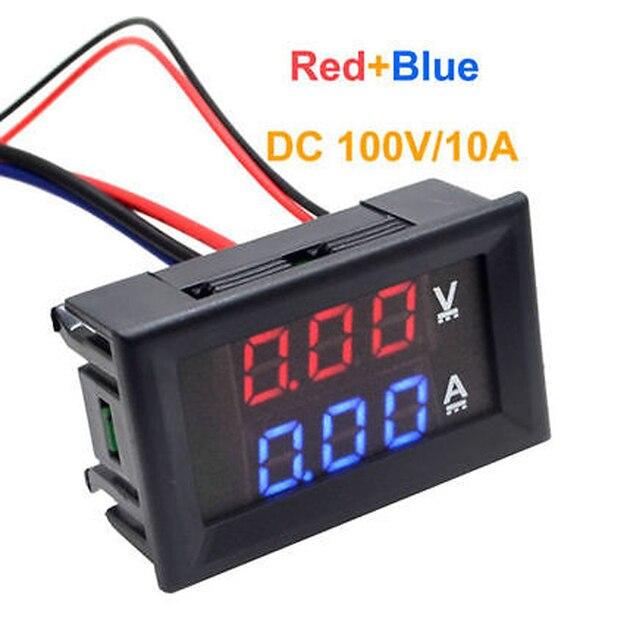 DSN-VC288 DC 100V 10A Voltmeter Ammeter Blue + Red LED Amp Dual Digital Volt Meter Gauge Voltage Current Home Use Tool