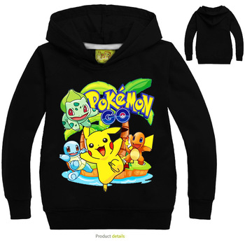 New Pikachu Boys Girls Hoodies Childrens Cartoon Pokemon Go Print Sweatshirts Fashion Kids Long Sleeve Costume 3-10Y