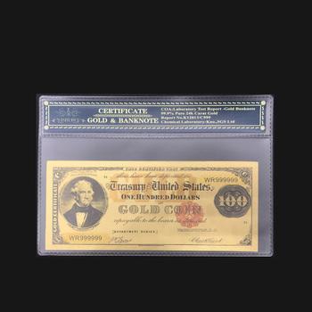 Pamiątka prezent dla ameryki 1882 rok 100 dolar banknotów dolara w 24 k złoto fałszywe pieniądze papierowe z COA rama dla Colletcion tanie i dobre opinie Patriotyzmu Pozłacane Antique sztuczna FGHGF 7days after you paid America Souvenir collection Gold