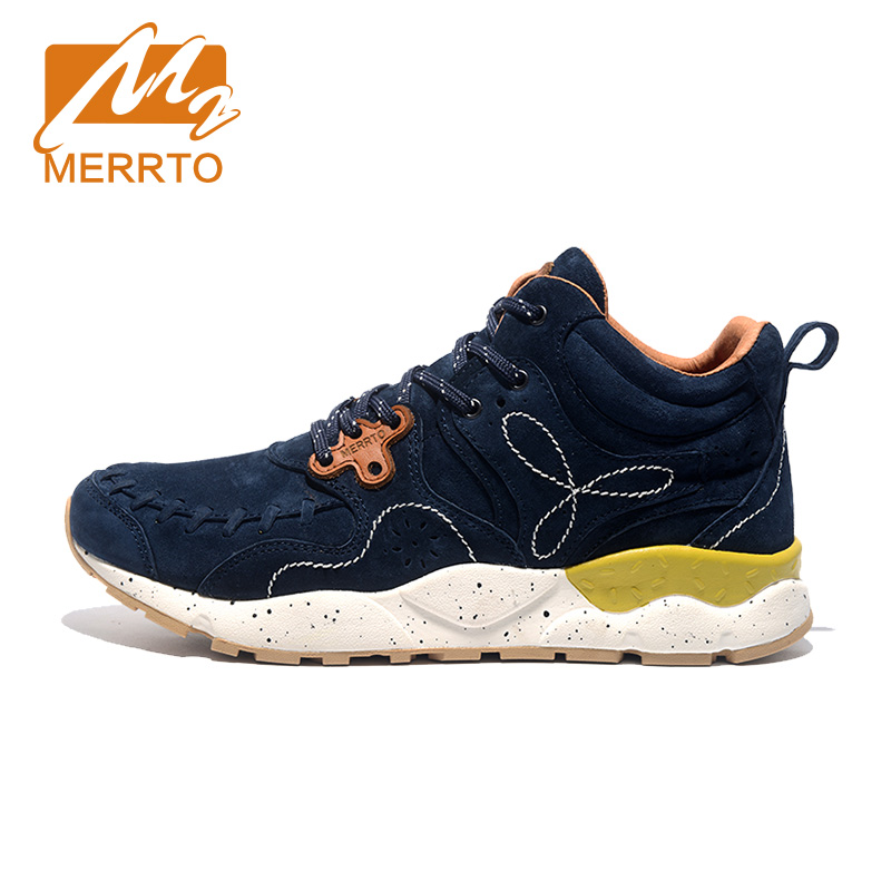 MERRTO Skidproof Men Hiking Shoes Outdoor Cowhide Waterproof Breathable Sports Warm Winter Boost Sneakers #C18626 yin qi shi man winter outdoor shoes hiking camping trip high top hiking boots cow leather durable female plush warm outdoor boot