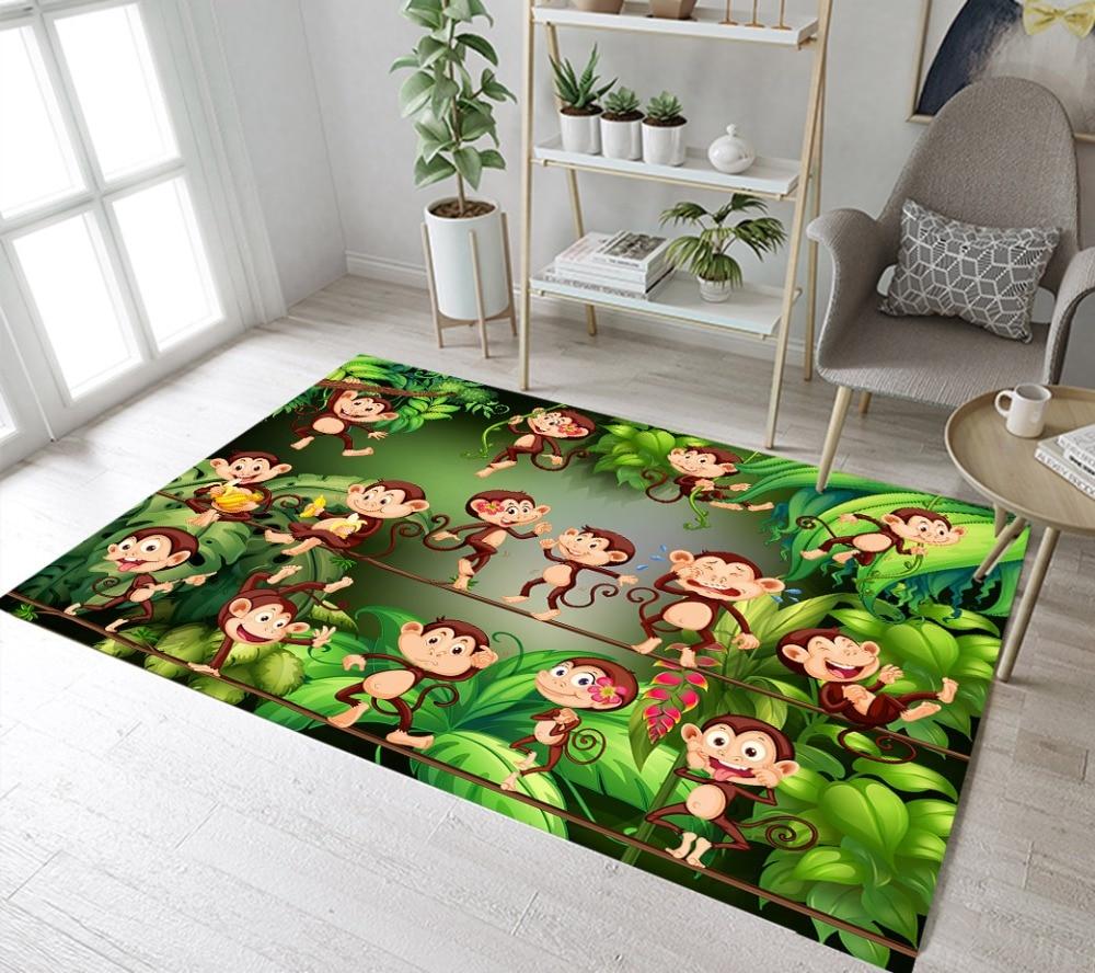 Lb Kids Cartoon Monkey Rugs And Green