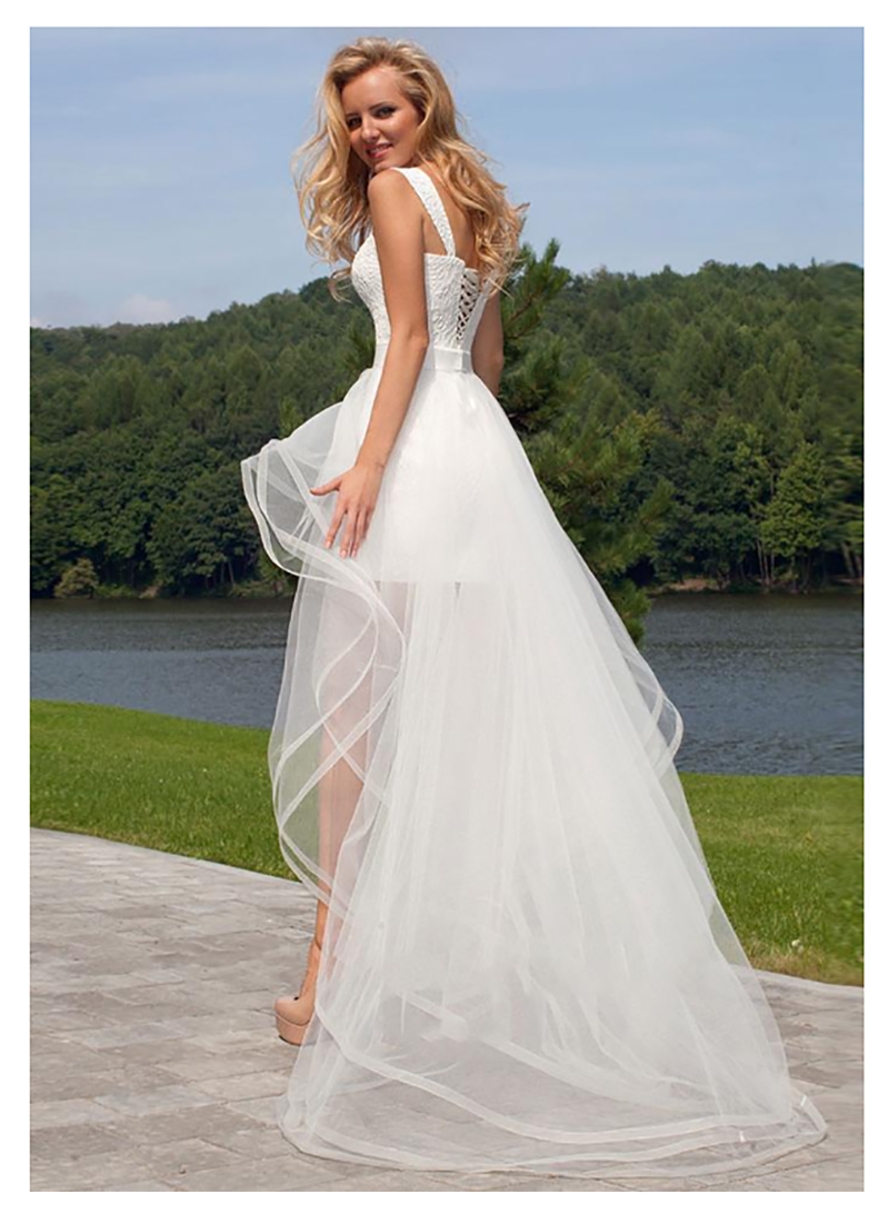 LORIE 2019 Princess Wedding Dress Sweetheart Detachable Train Wedding Gown Sleeveless Boho Short Skirt Beach Bride Dress in Wedding Dresses from Weddings Events