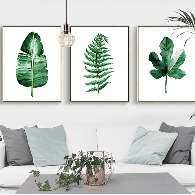 Office wall art Illustration Watercolor Green Plants Leaves Canvas Paintings Nordic Scandinavian Office Wall Art Poster Picture For Living Room Home Decor Les Idées De Ma Maison Watercolor Green Plants Leaves Canvas Paintings Nordic Scandinavian