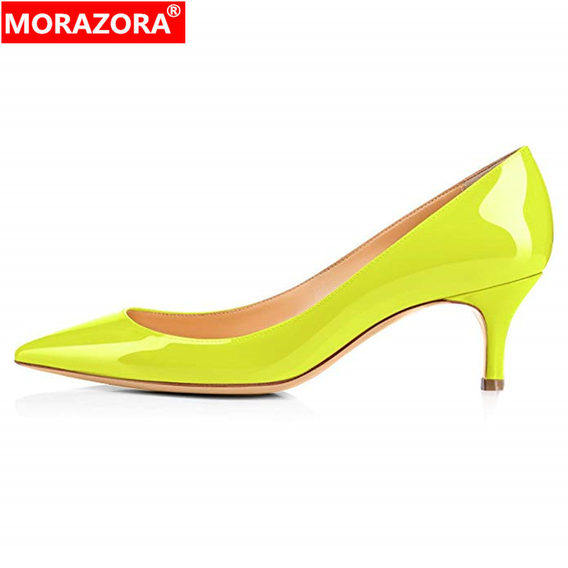 MORAZORA big size 45 high heels shoes woman solid color elegant summer shoes stiletto heels party